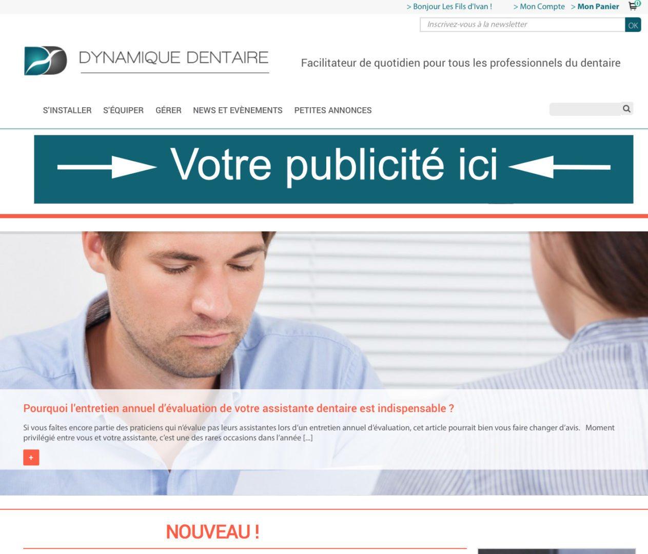 Annonce publicataire Dynamique Dentaire - Bandeau du haut
